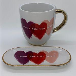 Hallmark Hearts Cups and Tray set